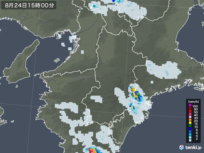 奈良県の雨雲レーダー(2020年08月24日)