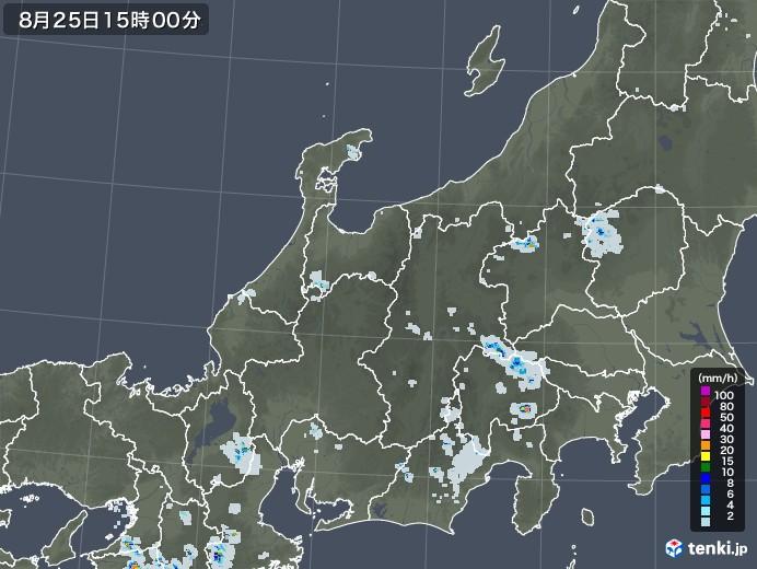 北陸地方の雨雲レーダー(2020年08月25日)