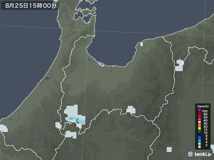 富山県の雨雲レーダー(2020年08月25日)