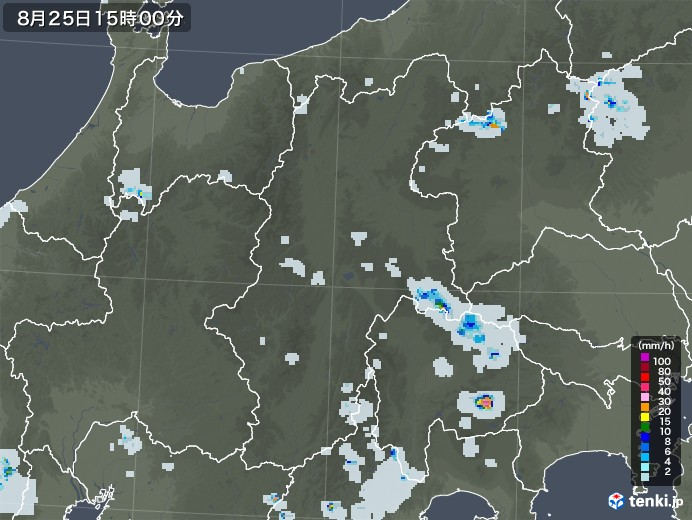 長野県の雨雲レーダー(2020年08月25日)