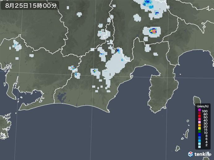 静岡県の雨雲レーダー(2020年08月25日)