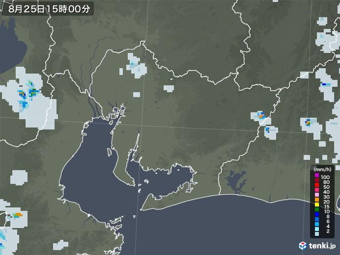 愛知県の雨雲レーダー(2020年08月25日)