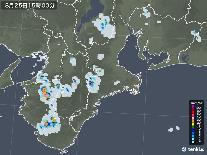 三重県の雨雲レーダー(2020年08月25日)