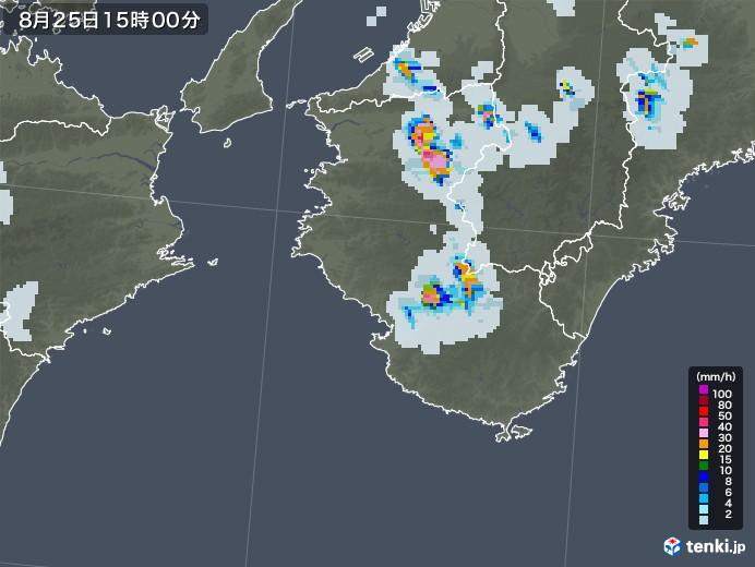 和歌山県の雨雲レーダー(2020年08月25日)