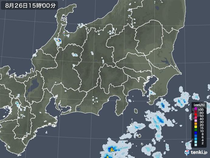 関東・甲信地方の雨雲レーダー(2020年08月26日)