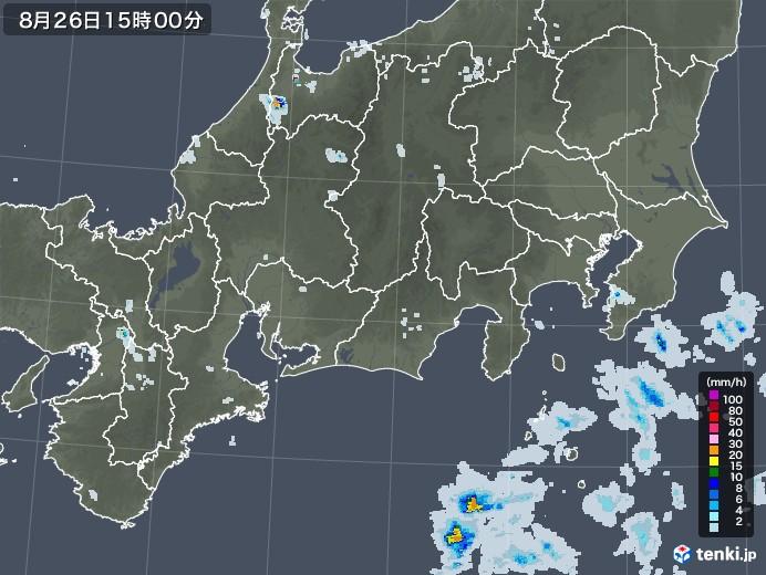 東海地方の雨雲レーダー(2020年08月26日)