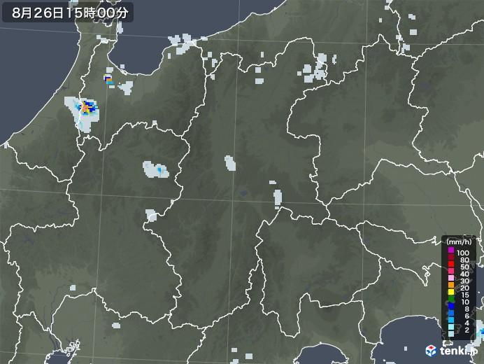 長野県の雨雲レーダー(2020年08月26日)