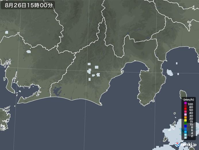 静岡県の雨雲レーダー(2020年08月26日)