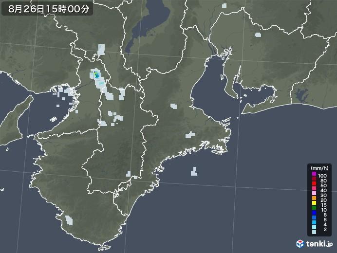 三重県の雨雲レーダー(2020年08月26日)