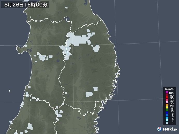 岩手県の雨雲レーダー(2020年08月26日)