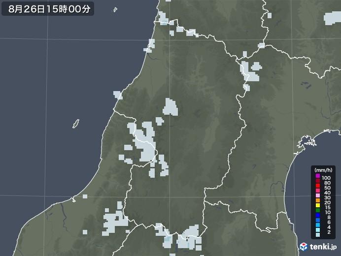 山形県の雨雲レーダー(2020年08月26日)