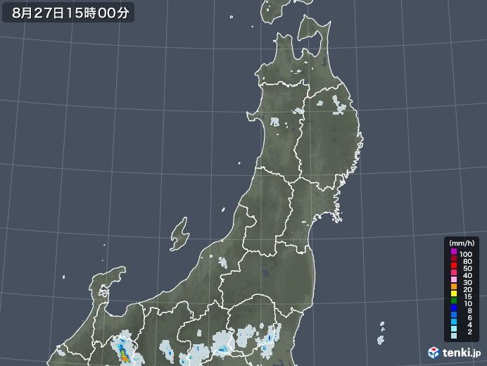 東北地方の雨雲レーダー(2020年08月27日)