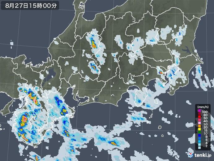東海地方の雨雲レーダー(2020年08月27日)