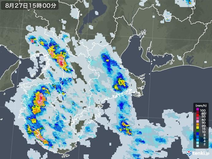 三重県の雨雲レーダー(2020年08月27日)