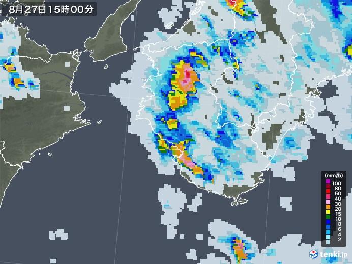 和歌山県の雨雲レーダー(2020年08月27日)