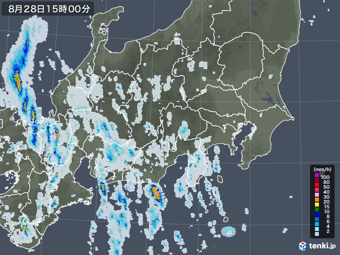 関東・甲信地方の雨雲レーダー(2020年08月28日)