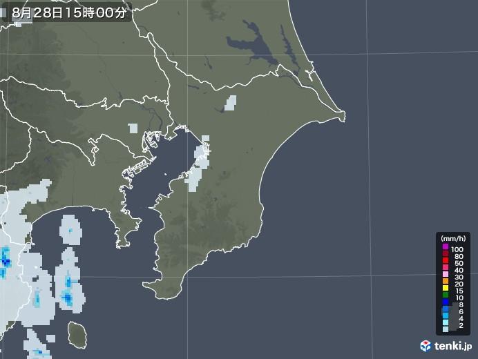 千葉県の雨雲レーダー(2020年08月28日)