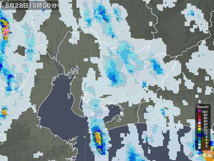 愛知県の雨雲レーダー(2020年08月28日)