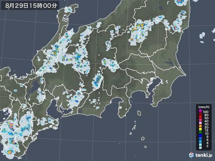 関東・甲信地方の雨雲レーダー(2020年08月29日)