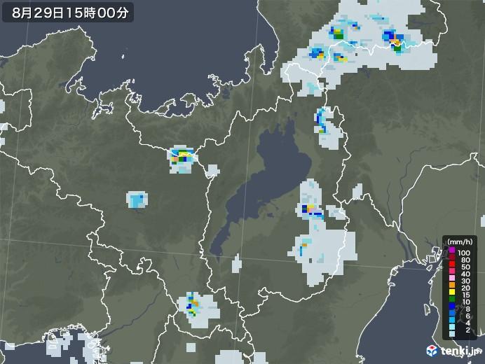 滋賀県の雨雲レーダー(2020年08月29日)
