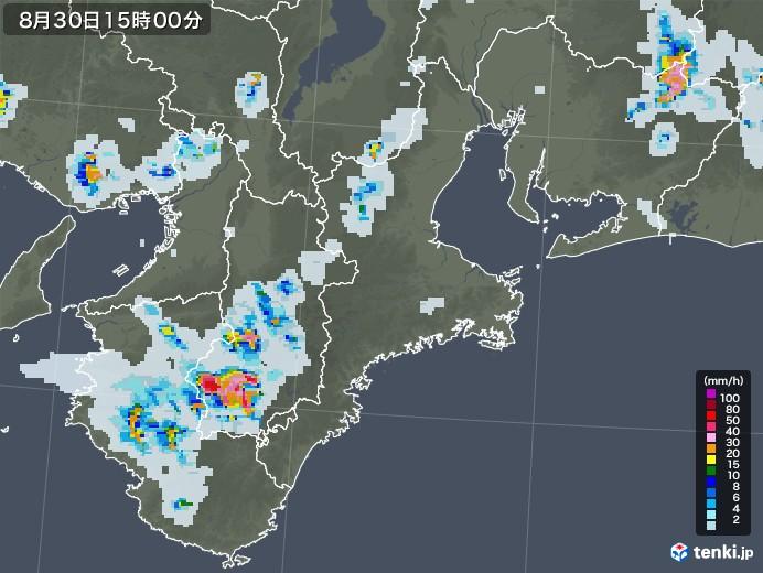 三重県の雨雲レーダー(2020年08月30日)