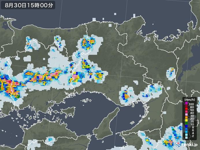 兵庫県の雨雲レーダー(2020年08月30日)
