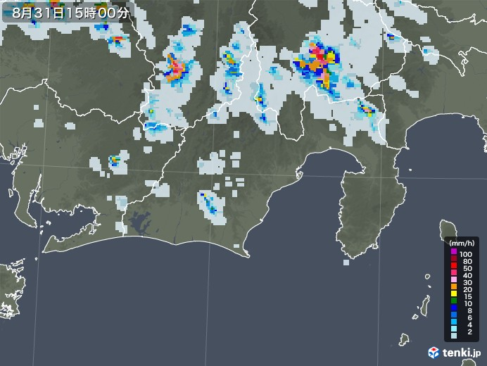 静岡県の雨雲レーダー(2020年08月31日)