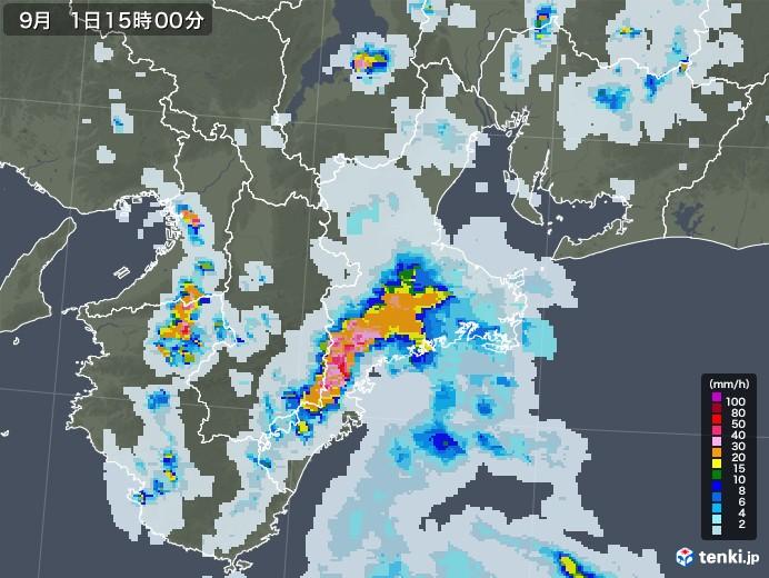 三重県の雨雲レーダー(2020年09月01日)