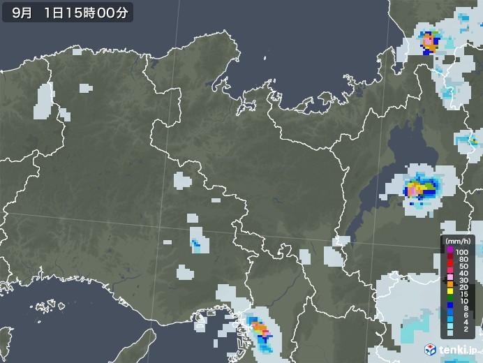 京都府の雨雲レーダー(2020年09月01日)