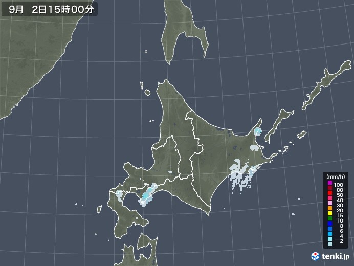 北海道地方の雨雲レーダー(2020年09月02日)