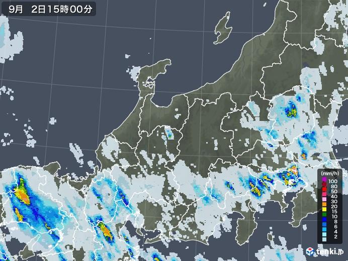 北陸地方の雨雲レーダー(2020年09月02日)