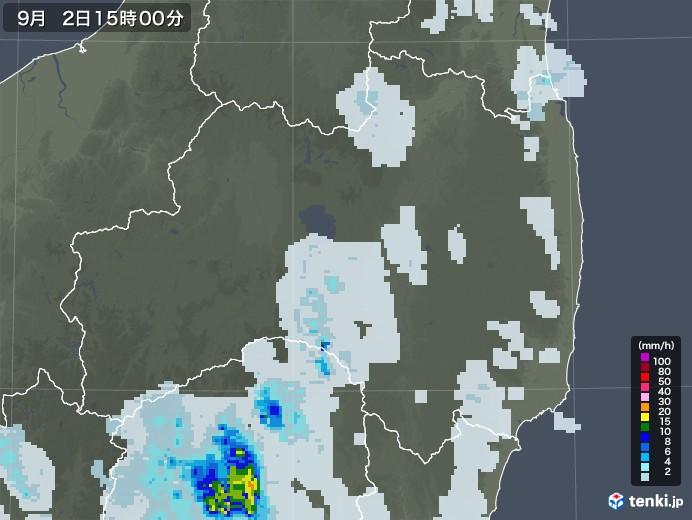 福島県の雨雲レーダー(2020年09月02日)
