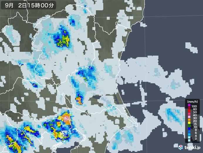 茨城県の雨雲レーダー(2020年09月02日)