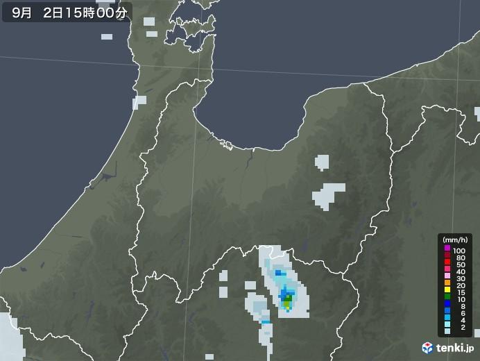 富山県の雨雲レーダー(2020年09月02日)