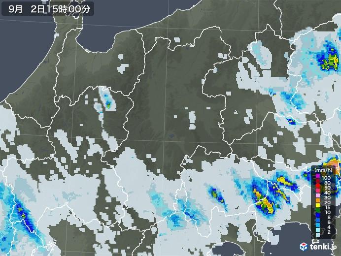 長野県の雨雲レーダー(2020年09月02日)