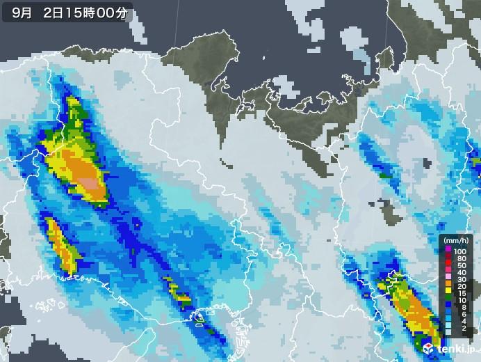 京都府の雨雲レーダー(2020年09月02日)