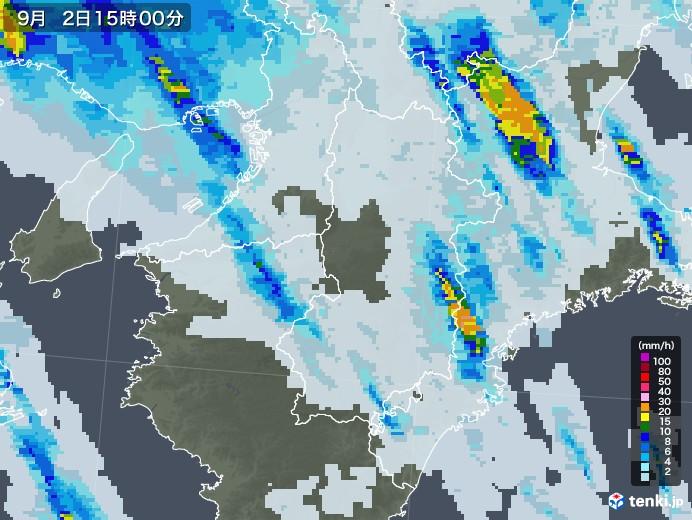 奈良県の雨雲レーダー(2020年09月02日)