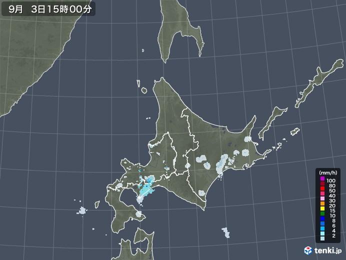 北海道地方の雨雲レーダー(2020年09月03日)