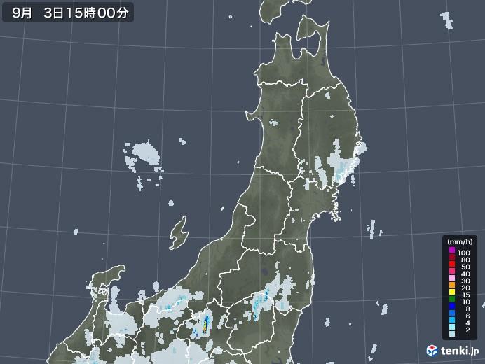 東北地方の雨雲レーダー(2020年09月03日)
