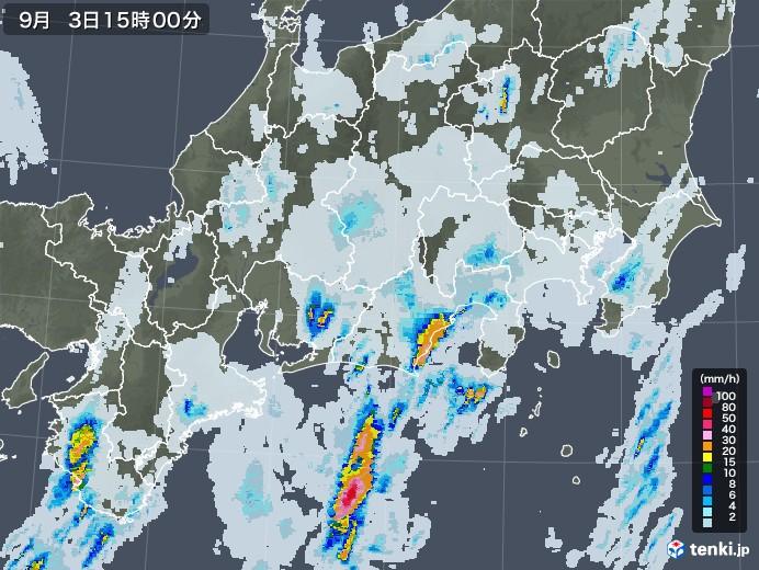 東海地方の雨雲レーダー(2020年09月03日)
