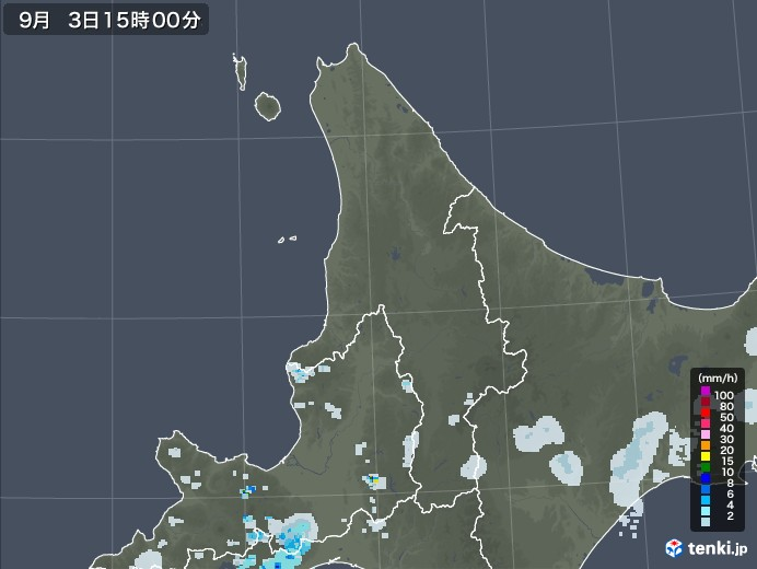 道北の雨雲レーダー(2020年09月03日)