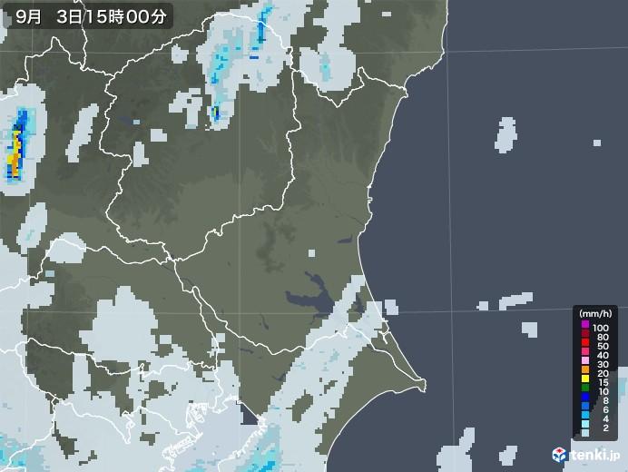 茨城県の雨雲レーダー(2020年09月03日)