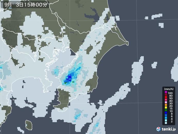 千葉県の雨雲レーダー(2020年09月03日)