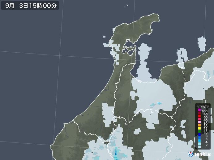 石川県の雨雲レーダー(2020年09月03日)