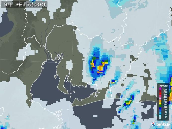 愛知県の雨雲レーダー(2020年09月03日)