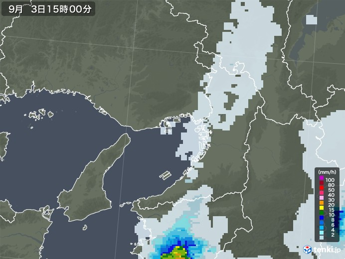 大阪府の雨雲レーダー(2020年09月03日)