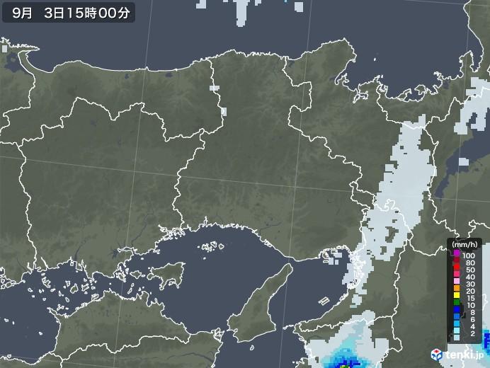 兵庫県の雨雲レーダー(2020年09月03日)