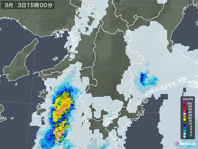 奈良県の雨雲レーダー(2020年09月03日)