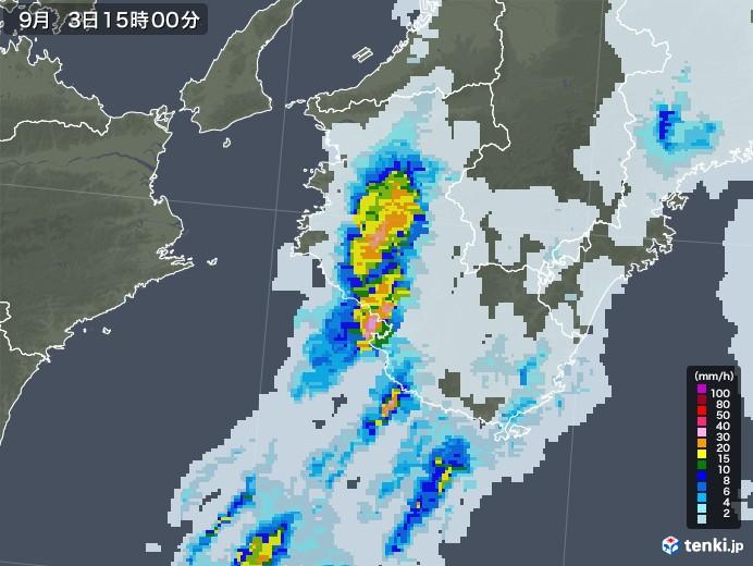 和歌山県の雨雲レーダー(2020年09月03日)