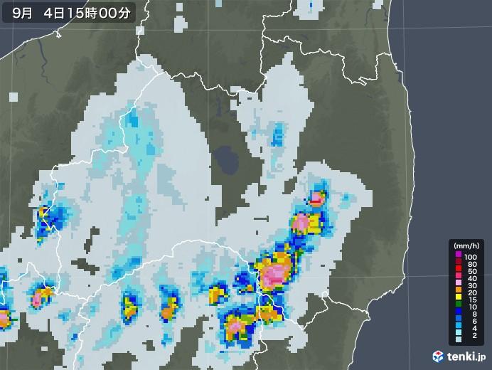 福島県の雨雲レーダー(2020年09月04日)